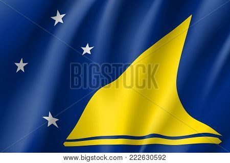 Tokelau Islands realistic flag. Patriotic symbol in official country colors. Illustration of Oceania state flag. Vector icon