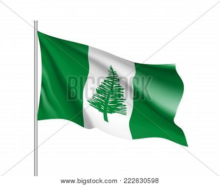 Waving flag of Norfolk Island. Illustration of Oceania country flag on flagpole. Vector 3d icon isolated on white background