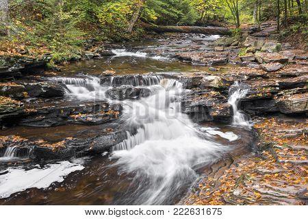 Whitewater splashes down Glen Leigh in autumn at Ricketts Glen State Park, Pennsylvania.