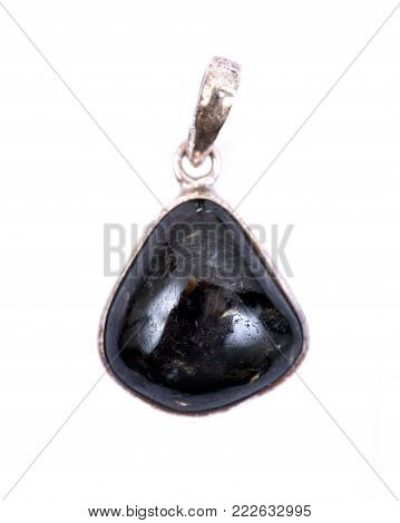 High grade genuine nuummite from Greenland pendant in sterling silver isolated on white background