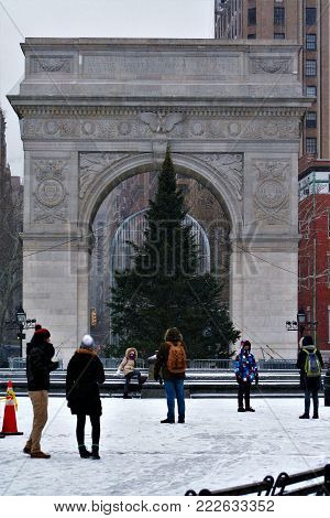 Washington Square Arch during a snow flurry in New York City