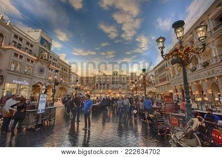 Las Vegas, Nevada - Nov 25, 2016: Many tourists hanging around in the Grand Canal Shoppes of Venetian Resort Hotel Casino, in Las Vegas city, on Nov 25, 2016.