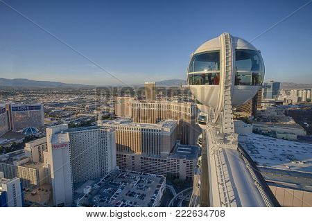 Las Vegas, Nevada - Nov 25, 2016: Tourists looking at the city view from the