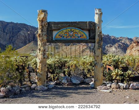 Wedding and Event Background wooden poles and decoration with Cholla Jumping Cactus and mountains in background