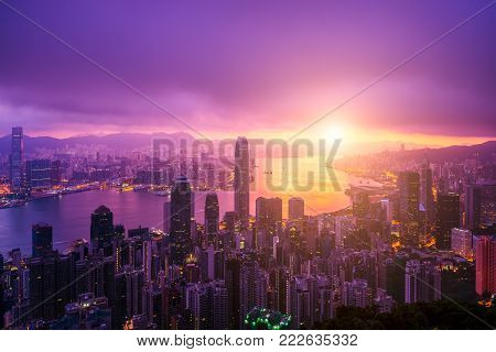 Hong Kong City skyline at sunrise. Hongkong skyscraper view from The peak poster