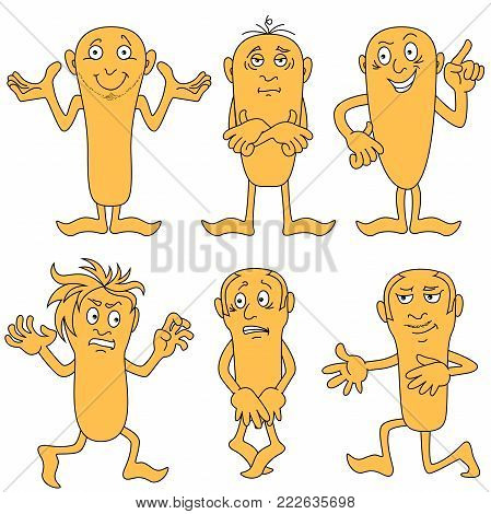 Set of six amusing male characters with various grimaces, cartoon vector illustrations isolated on the white background