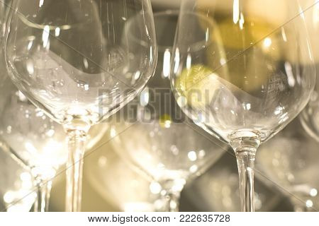 A Side View Of Empty Wine Glasses On The Table.