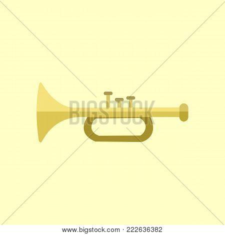 Golden Trumpet Instrument Vector Illustration Graphic Design