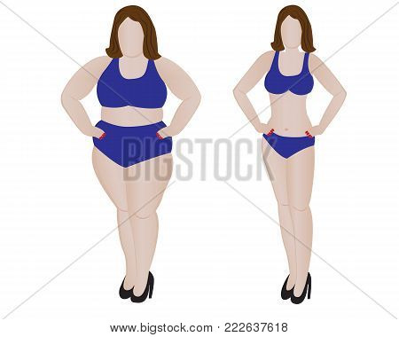 Fat and slim girl. Weight loss fitness. Vector illustration