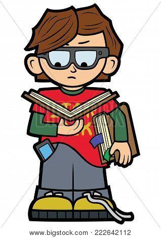 Illustration a reading boy in a flat cartoon style