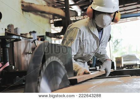 Professional young carpenter with safety equipment cutting a piece of wood on table saw machine in carpentry factory.