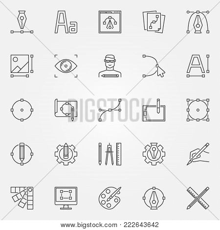 Graphic design icons set. Vector design and graphics concept symbols or logo elements in thin line style