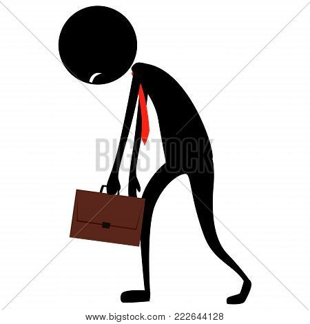 Vector Illustration of Stick Figure Silhouette Business Man Feeling Tired