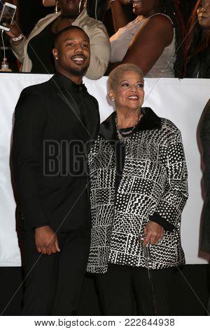 LOS ANGELES - JAN 15:  Michael B Jordan, Donna Jordan at the 49th NAACP Image Awards - Arrivals at Pasadena Civic Center on January 15, 2018 in Pasadena, CA