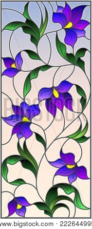 Illustration in the style of stained glass with intertwined abstract purple flowers and leaves on a sky  background