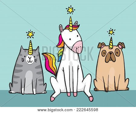 A unicorn and her pets. A cat (caticorn) and a pug (unipig). Cute cartoon vector file.