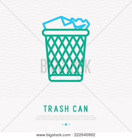 Trash can with garbage thin line icon. Modern vector illustration.