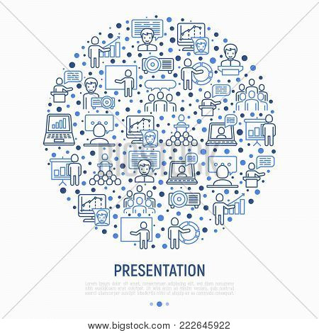 Presentation concept in circle with thin line icons: seminar, human at tribune, meeting, projector, audience, video call, conference, discussion. Modern vector illustration for banner, print media, web page.
