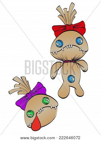 A Sad Rag Doll With A Bow On His Head And Dead Doll's Head. Vector Illustration.