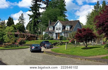Beautiful neighborhood,  houses, homes, and family residences in residential district of New Westminster City British Columbia Canada