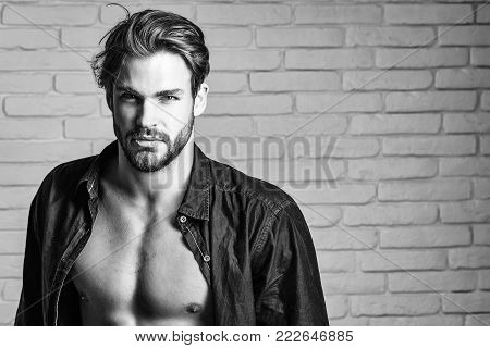 Angry Man Shows Muscle Torso