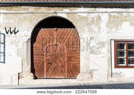 Budapest, Hungary - August 12, 2017:  Exterior door of residential building in the old city of Buda in Budapest.