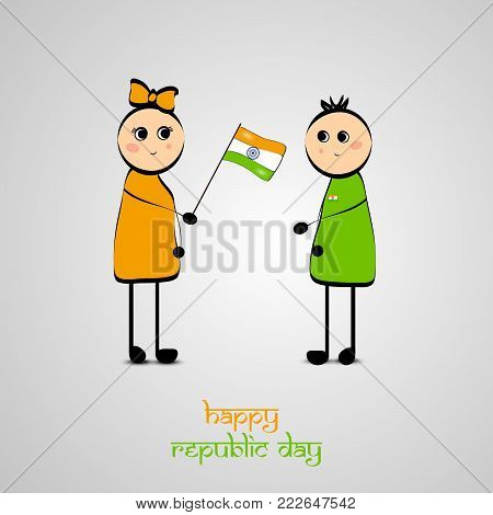 illustration of girl holding Indian flag and boy with Happy Republic Day text on the occasion of Indian Republic Day