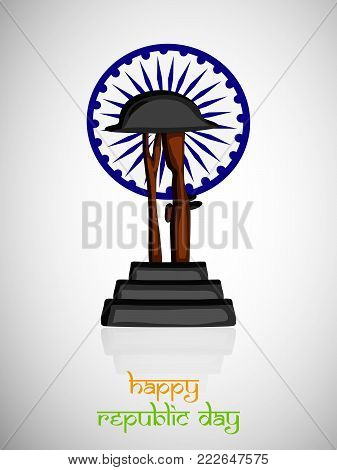 illustration of rifle in hat on India flag wheel background with Happy Republic Day text on the occasion of Indian Republic Day