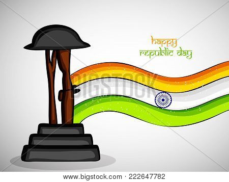 illustration of rifle in hat and India's flag with Happy Republic Day text on the occasion of Indian Republic Day