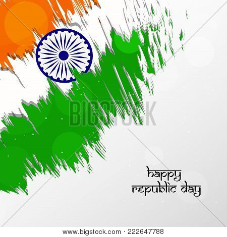 illustration of India's flag with Happy Republic Day text on the occasion of Indian Republic Day