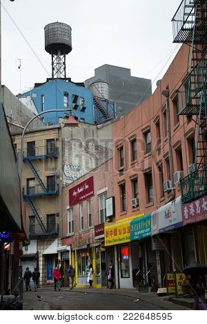 NY-USA, March 24, 2017:  Manhattan's Chinatown is a neighborhood in Lower Manhattan, New York City, bordering the Lower East Side to its east