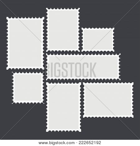 Blank mailing postal sticker template in different size stamps set