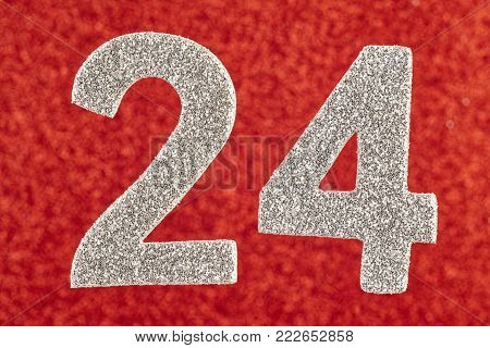 Number twenty-four silver color over a red background. Anniversary. Horizontal