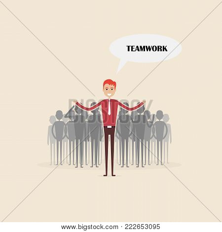 Team leader standing with businesspeople in background.Team leader and Leadership concept.Teamwork and Partnership concept.Vector illustration