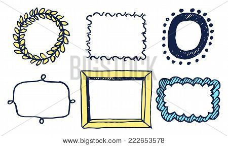Set of multicolored frames vector illustration with yellow wreath, black oval border with dots, light yellow rectangle isolated on white background