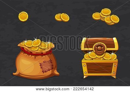 Gold treasures. Open old bag and wooden chest. Ancient pirate money for winner. Vector cartoon illustration old coins icons for web, games
