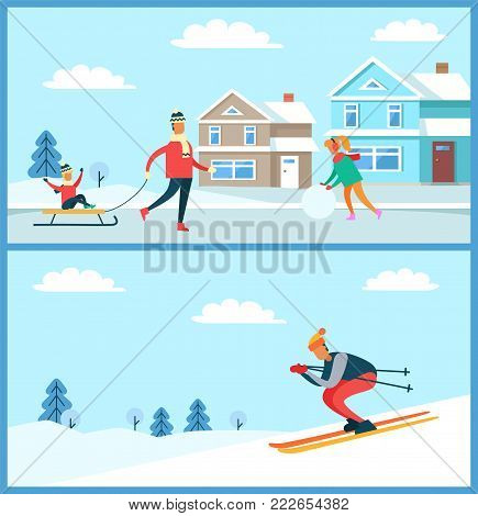Wintertime posters collection, family with kid on sled and skier going down slope, clear sky and clouds, buildings and trees vector illustration