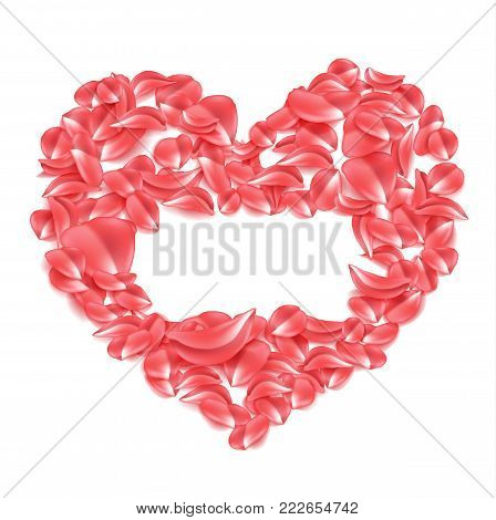 Vector realistic red rose petal in heart shape illustration on isolated white background. Elegant spring decoration, Valentines day, women day, wedding marriage, love, care symbol