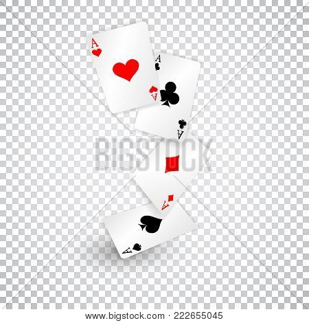 Four aces of diamonds clubs spades and hearts fall or fly as poker playing cards.
