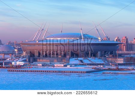 Aerial view of the stadium Zenit Arena, most expensively in the world, the FIFA World Cup in 2018. Russia, Saint-Petersburg, 16 January 2018