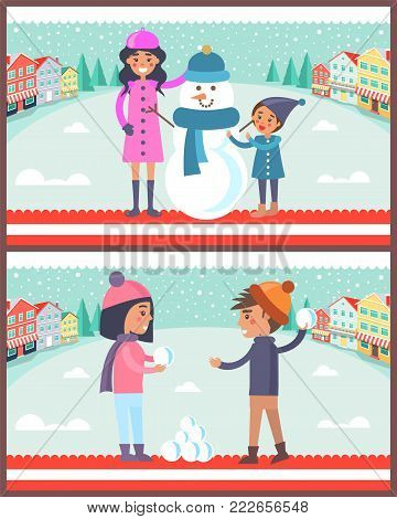 Happy couple boy and girl going to play snowballs outdoors at wintertime, mother and son making photo near snowman vector illustration on city landscape