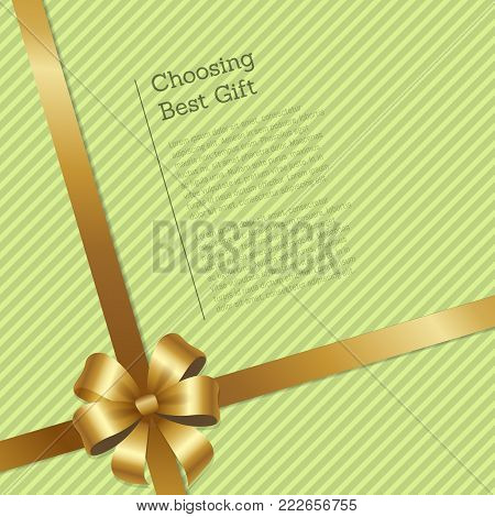 Choosing best gift striped card with gold shiny ribbon and bow cartoon vector illustration. Shop certificate for purchases on limited amount of money.