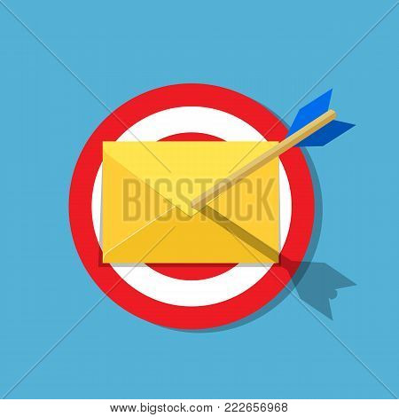 Email letter with arrow on the target. Email marketing, internet advertising concepts. Vector illustration in flat style