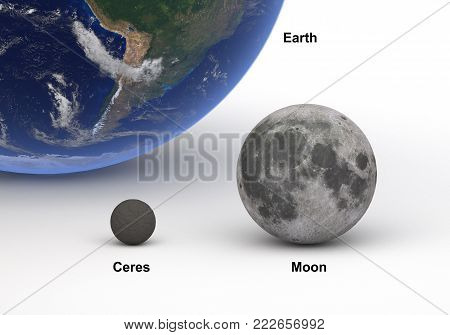 This image represents the size comparison between Ceres (dwarf planet) and Moon with Earth in a precise and scientific design.This is a 3d rendering.