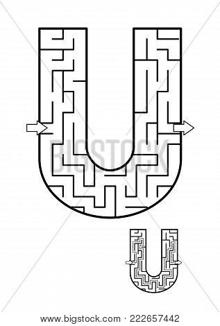 Alphabet  learning fun and educational activity for kids - letter U maze game. Answer included.