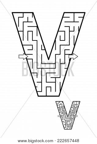 Alphabet  learning fun and educational activity for kids - letter V maze game. Answer included.