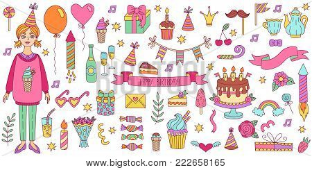 Birthday party decorative colorful doodle icons vector set