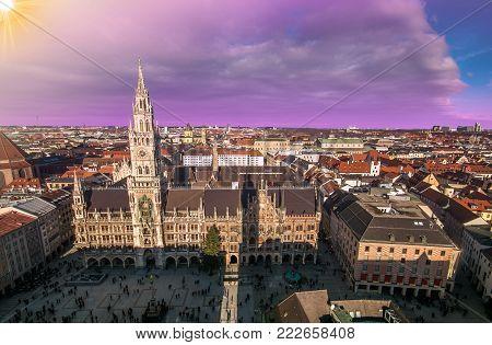 Munich architectural dusk view, Germany, Bavaria. Marienplatz town hall