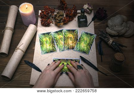 Tarot cards on fortune teller desk table. Witch doctor. Witchcraft.