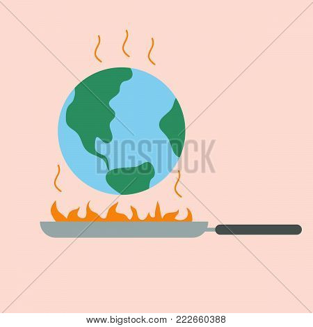 global warming concept.earth on pan with fire.earth day